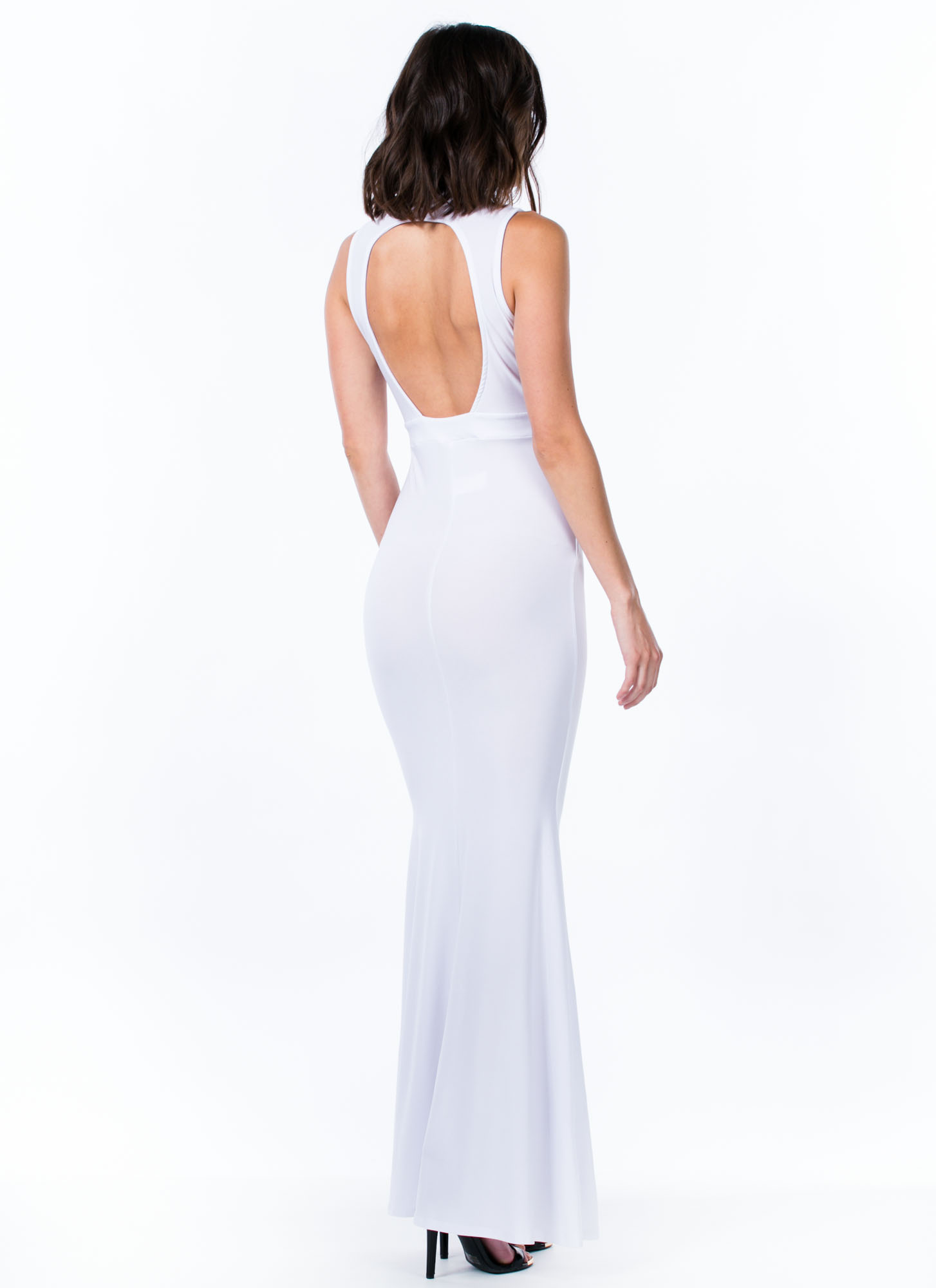 Mermaid To Order Cut-Out Maxi Dress WHITE