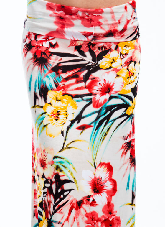 Tropic Sentence Floral Maxi Skirt CORAL