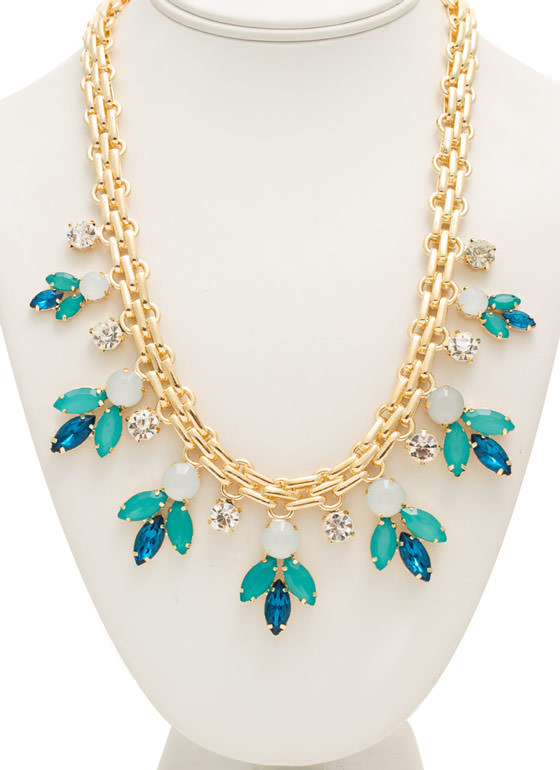 Multifaceted Faux Jewels Necklace Set BLUEGOLD