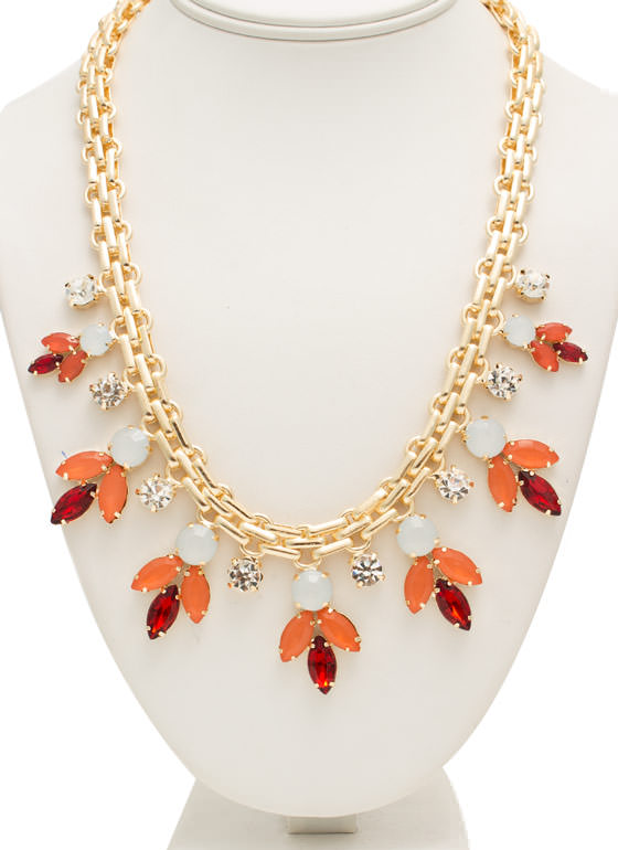 Multifaceted Faux Jewels Necklace Set PINKGOLD