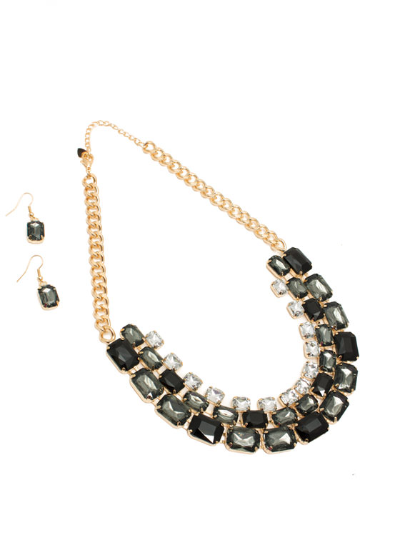 Shiny Square Faux Jewel Necklace Set BLACKGOLD
