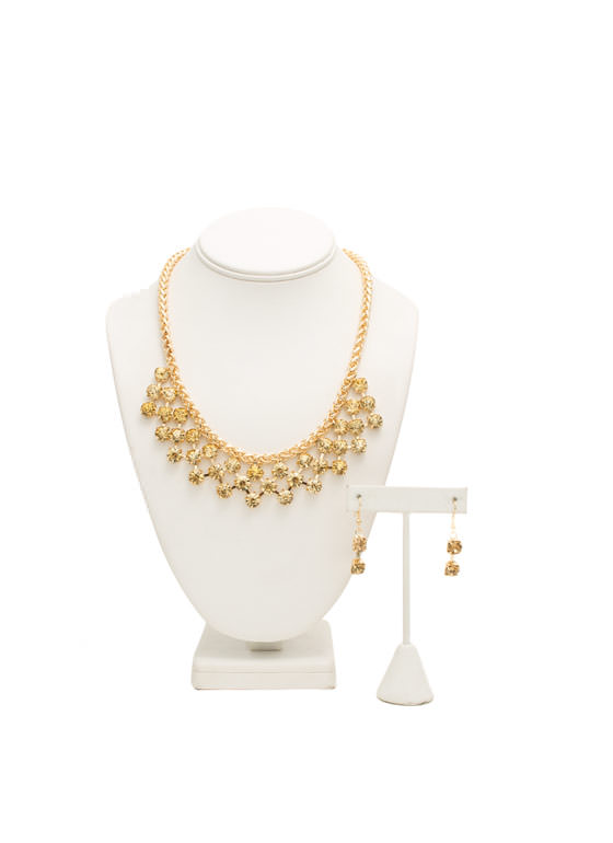 Draped Faux Jewels Necklace Set GOLD