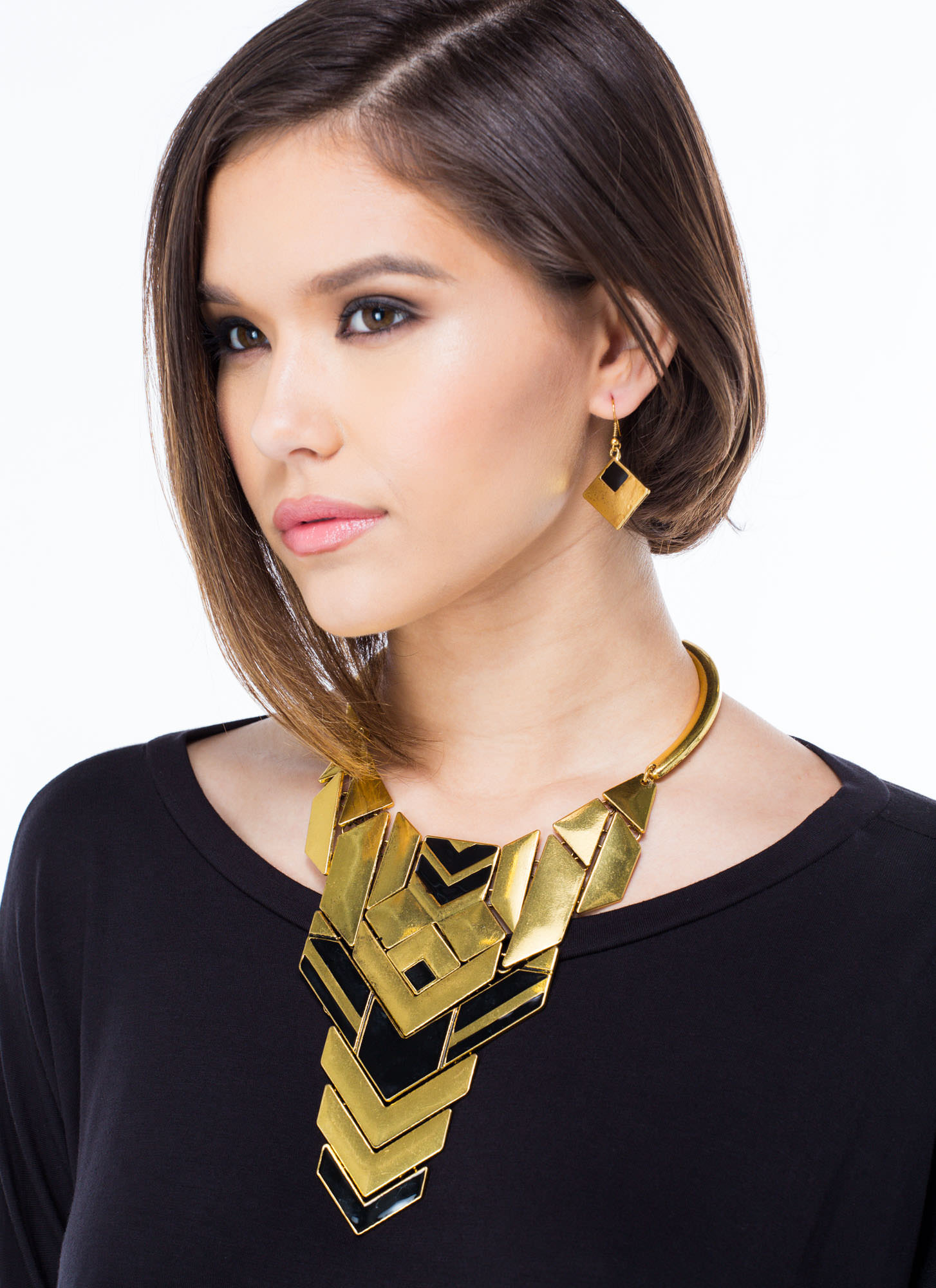 Tribal Plated Choker Necklace Set MATTEBLACK