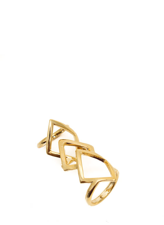 Cut-Out Diamond Shield Ring GOLD