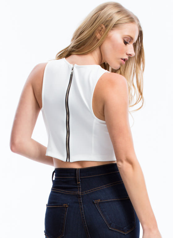 Structured 'N Seamed Cropped Top OFFWHITE
