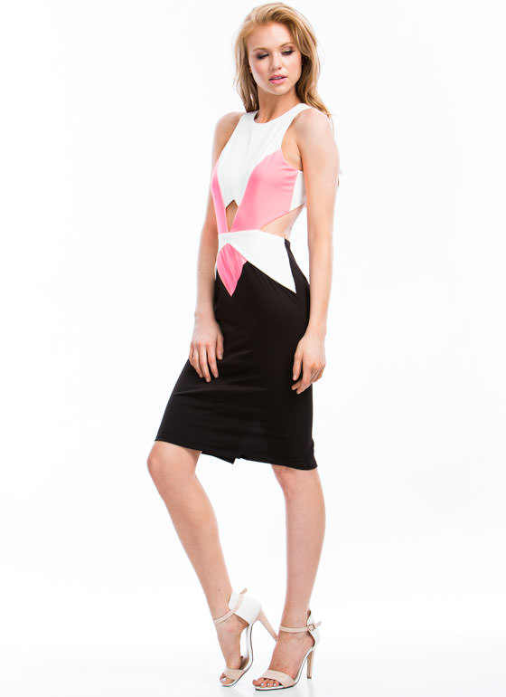Double Up On Diamonds Cut-Out Dress NEONPINK