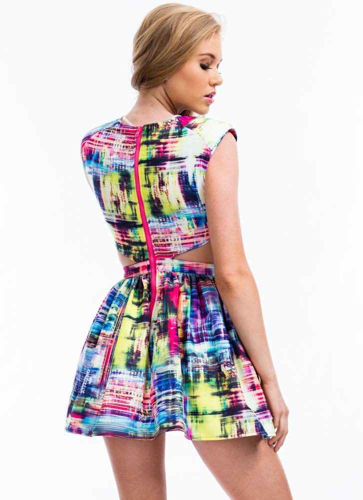 Abstract Watercolor Cut-Out Dress PINKMULTI