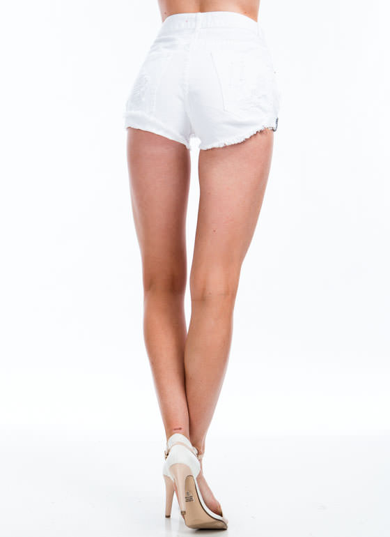 Perfectly Destroyed Denim Shorts WHITE