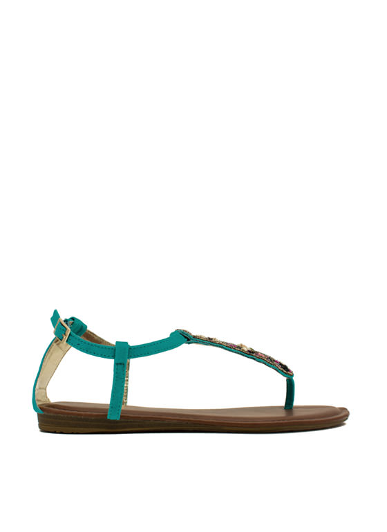 Tribal Magic Beaded T-Strap Sandals SEAFOAM