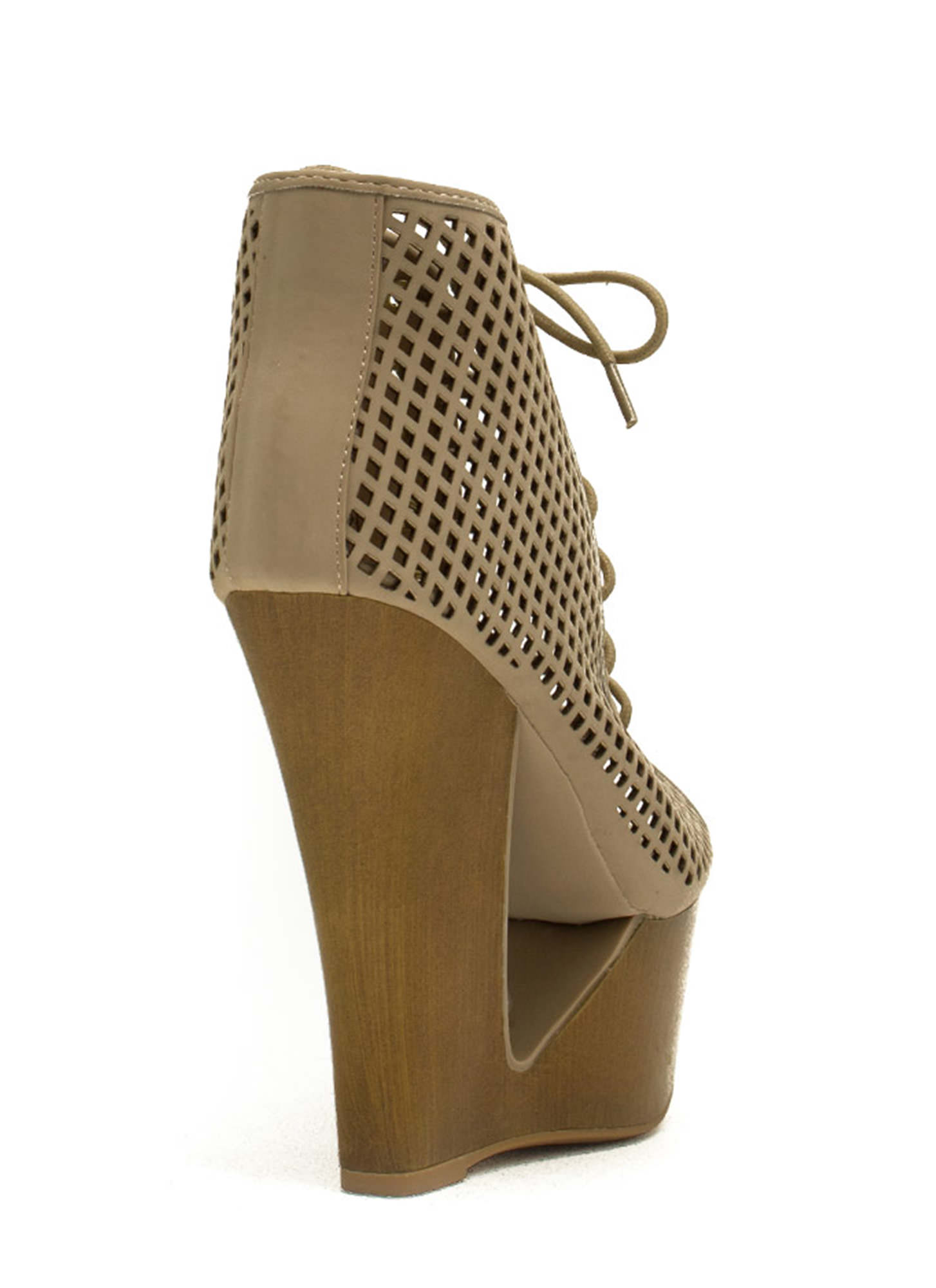 Cut It Out Peep-Toe Wedge Booties NUDE