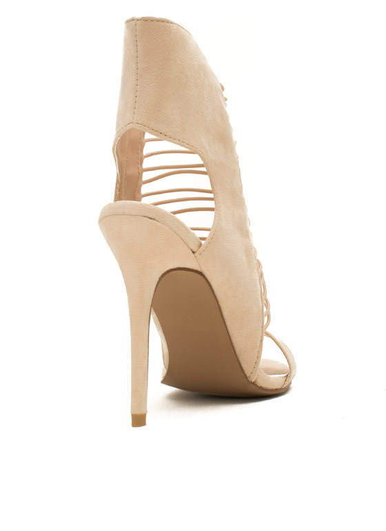 What's Strap-pening Stiletto Heels NUDE