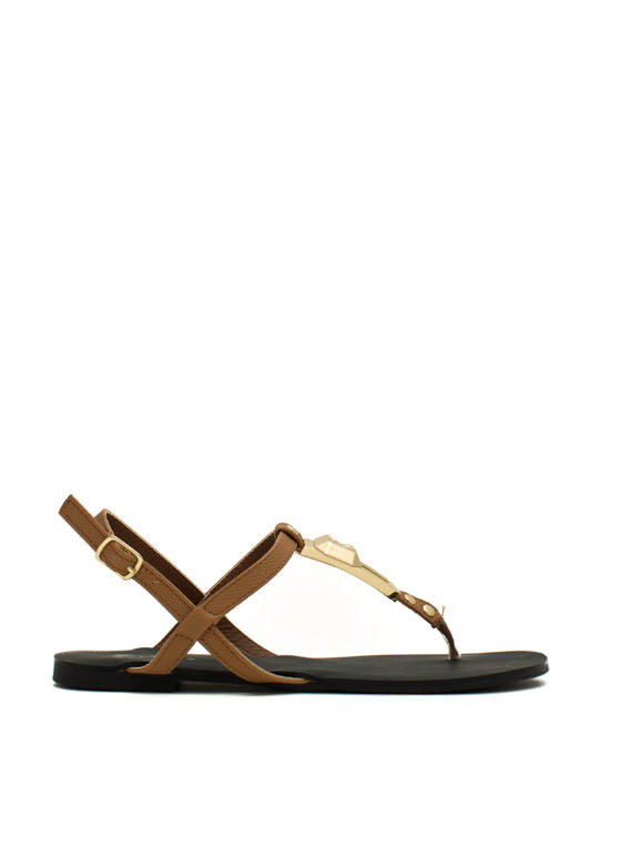 Slip 'N Slither T-Strap Sandals CAMEL