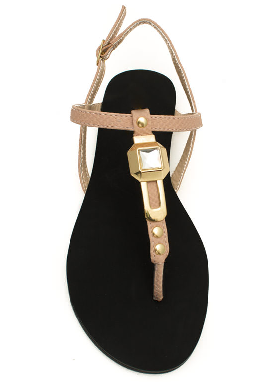 Slip 'N Slither T-Strap Sandals NUDE