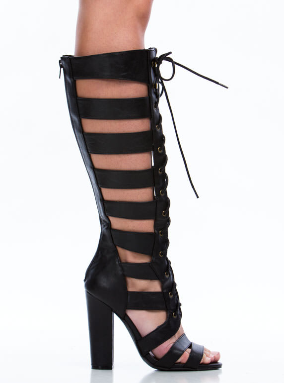 Tall Tales Strappy Chunky Heels BLACK