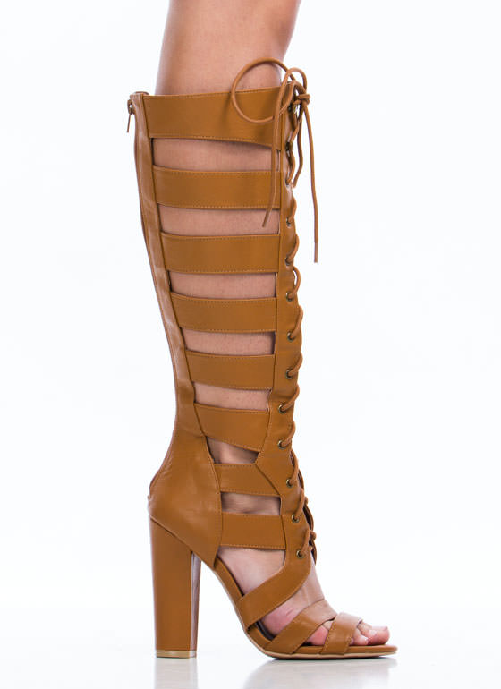 Tall Tales Strappy Chunky Heels CAMEL (Final Sale)