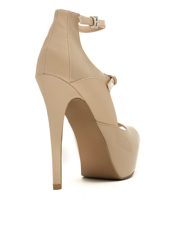 Modern Mary Jane Patent Leather Heels NUDE