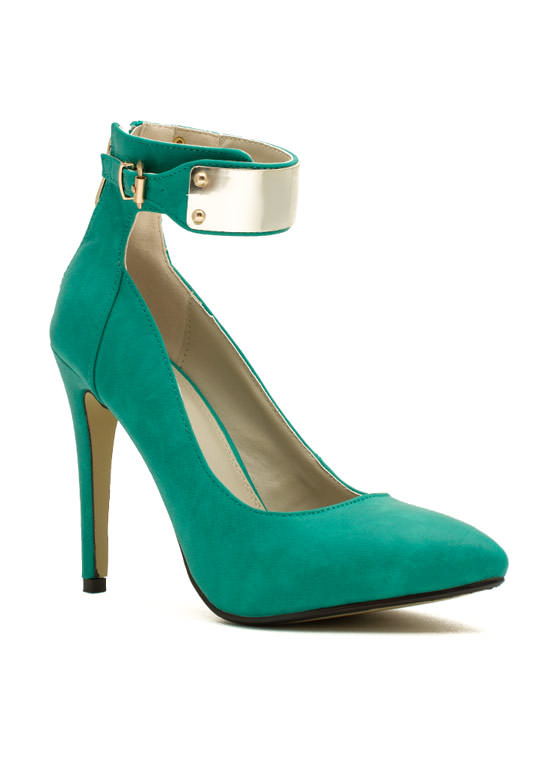 Plating For Keeps Ankle Cuff Heels SEAGREEN