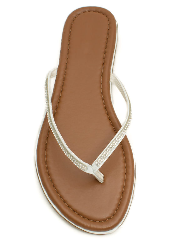 Twinkle Toes Jeweled Thong Sandals WHITE
