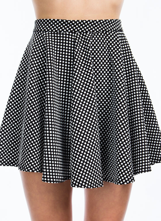Spotted In Dots Skater Skirt WHITE