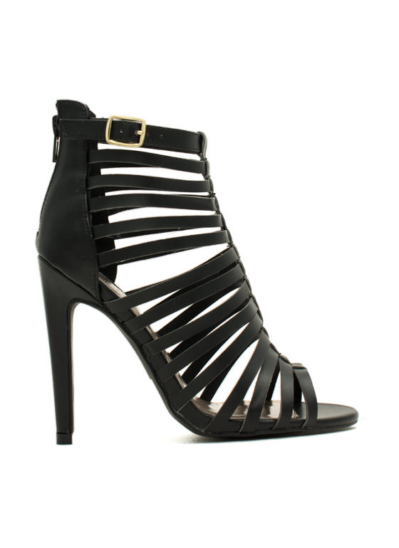 Nitty-Slitty Peep-Toe Heels BLACK