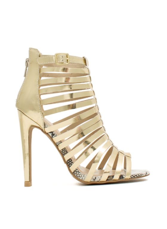 Nitty-Slitty Peep-Toe Heels GOLD