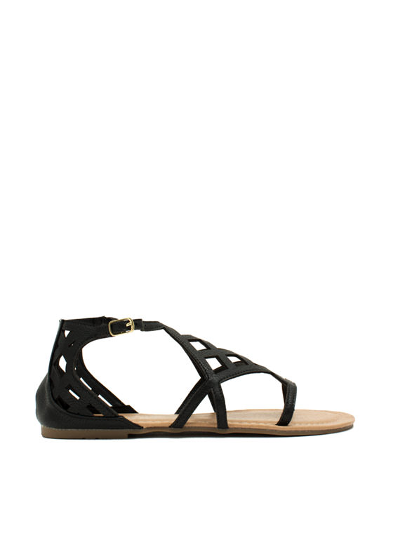 Be A Square Laser Cut-Out Sandals BLACK