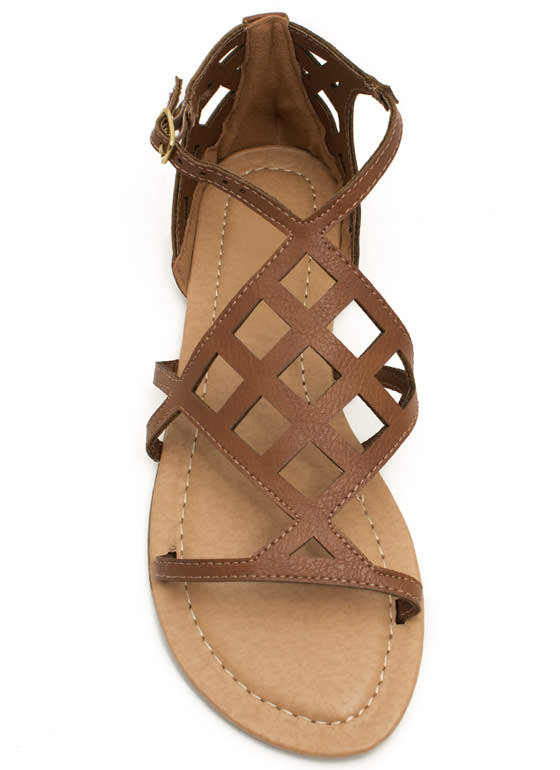 Be A Square Laser Cut-Out Sandals COGNAC