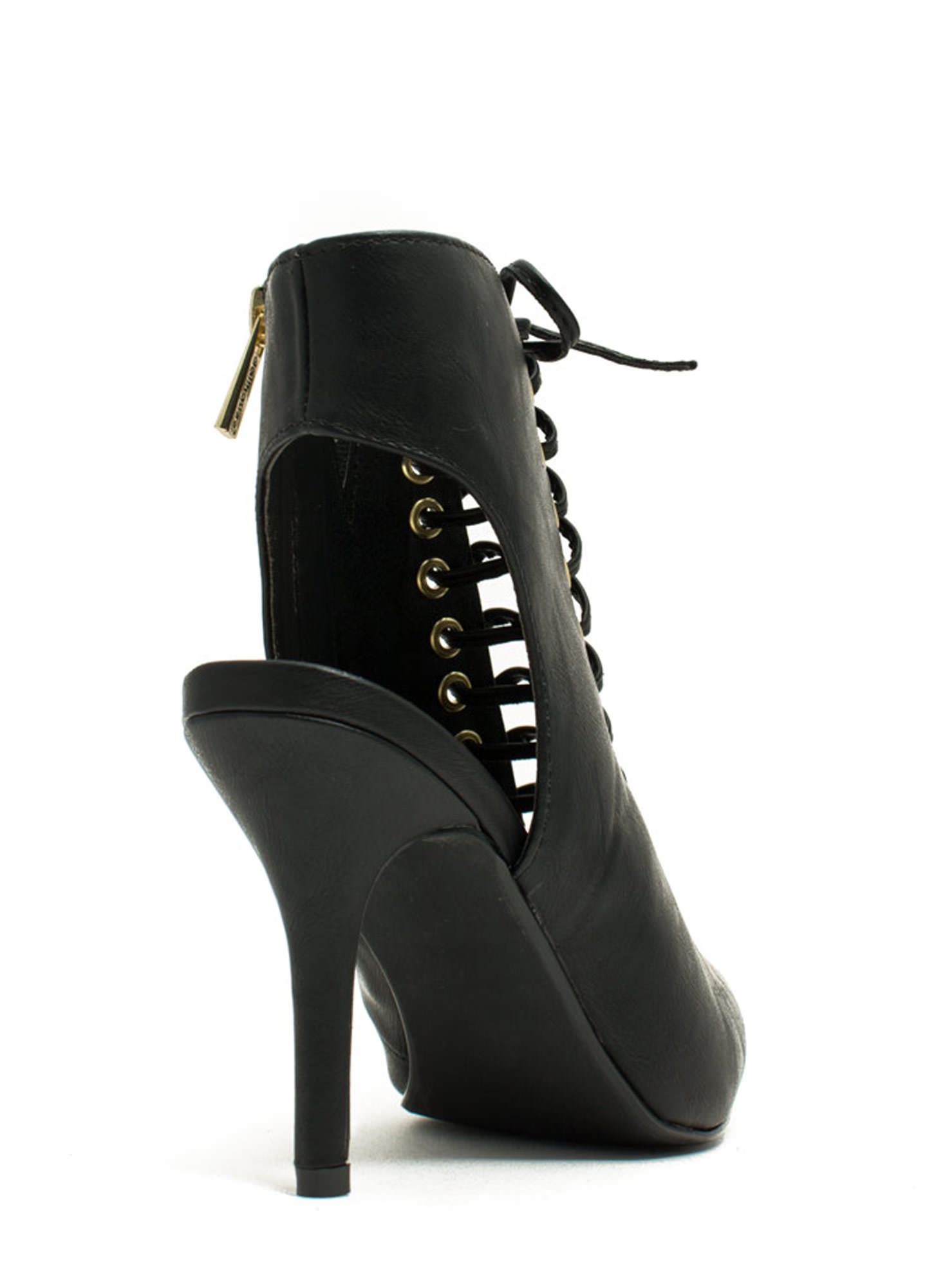 Well Heeled Lace-Up Booties BLACK