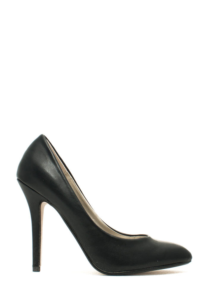 Pump It Up Faux Leather Heels BLACK