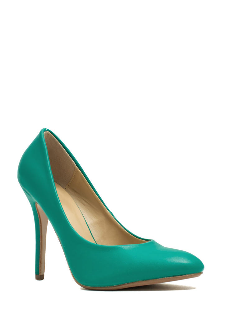 Pump It Up Faux Leather Heels GREEN