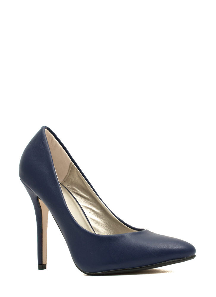 Pump It Up Faux Leather Heels NAVY