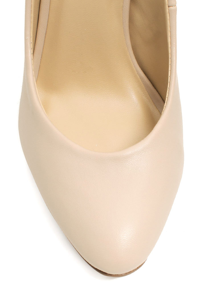 Pump It Up Faux Leather Heels NUDE