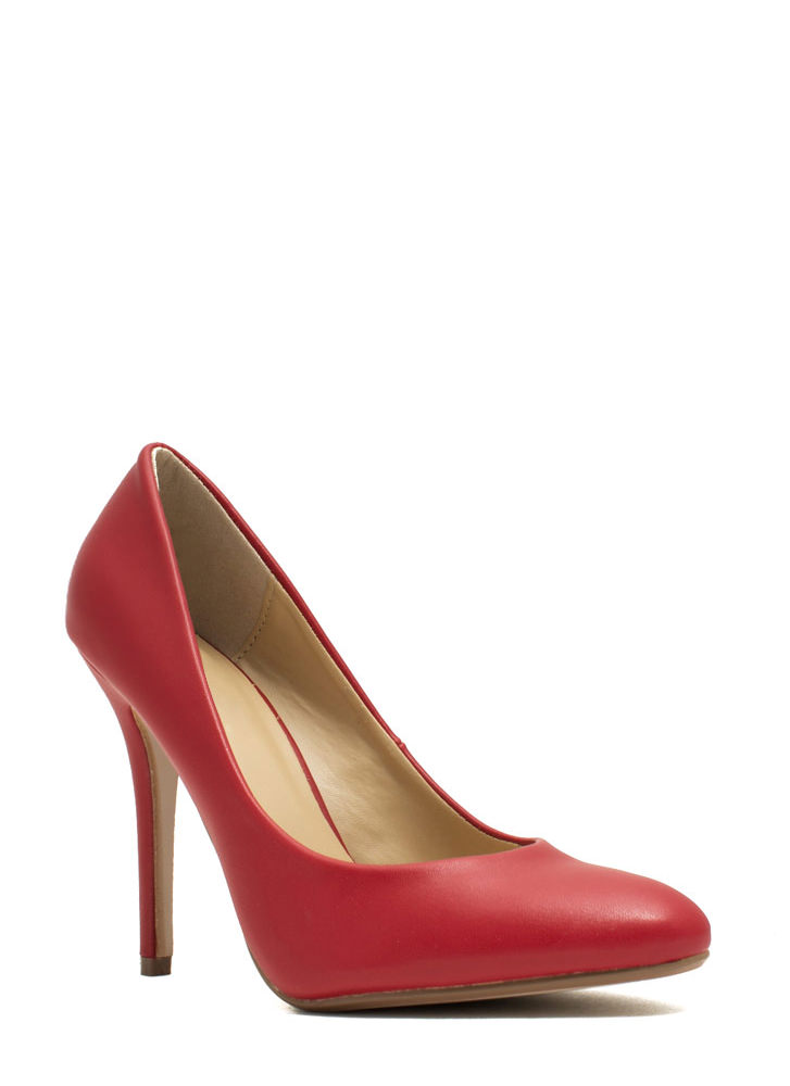 Pump It Up Faux Leather Heels RED