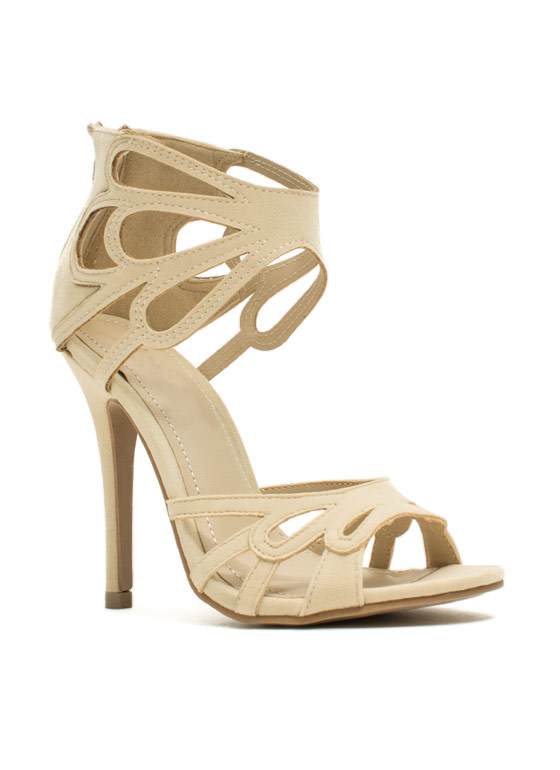 Tear It Up Cut-Out Heels BEIGE