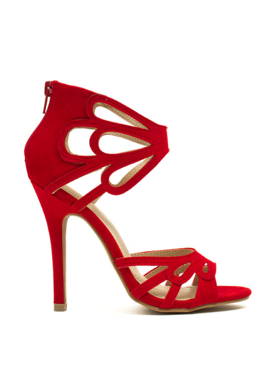 Tear It Up Cut-Out Heels RED