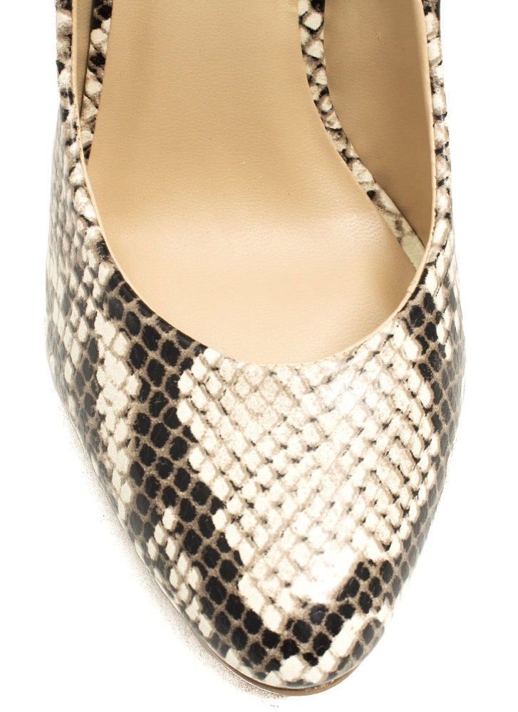 Pump It Up Faux Leather Snake Heels NATURAL