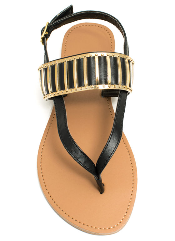 Behind Bars Strappy Thong Sandals BLACK