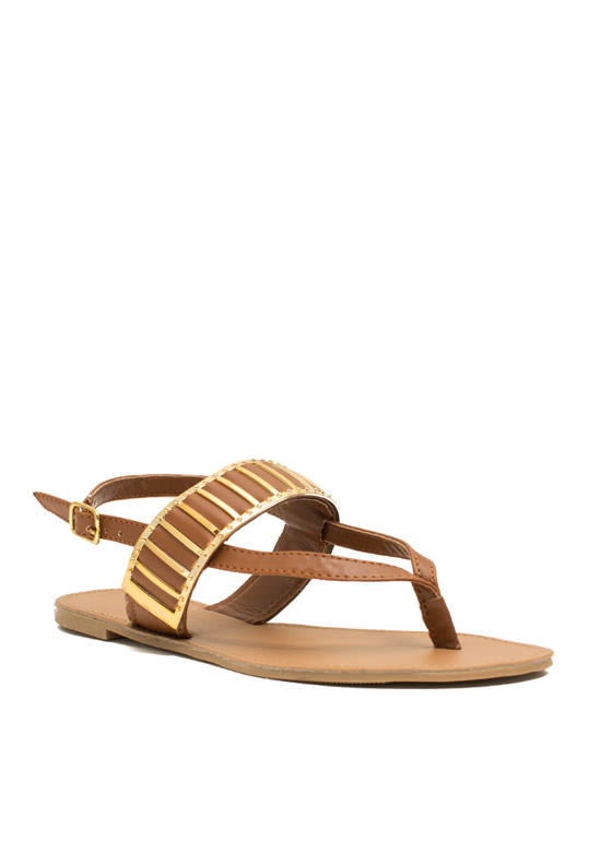 Behind Bars Strappy Thong Sandals RUST