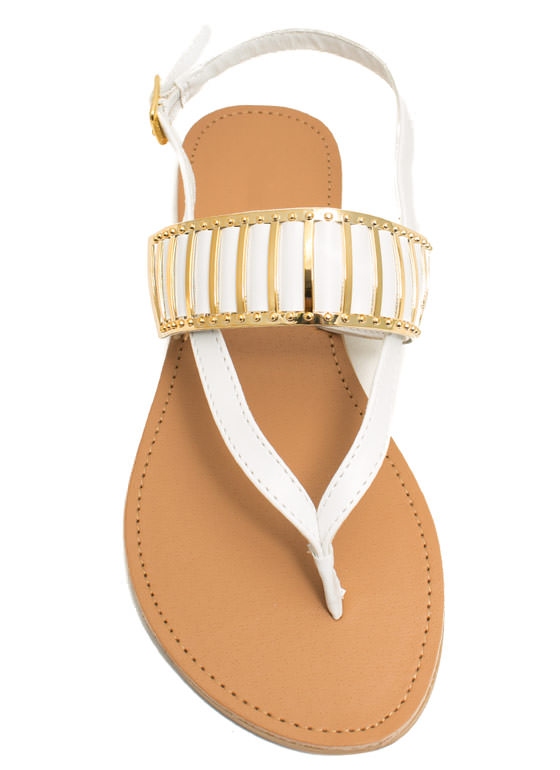 Behind Bars Strappy Thong Sandals WHITE