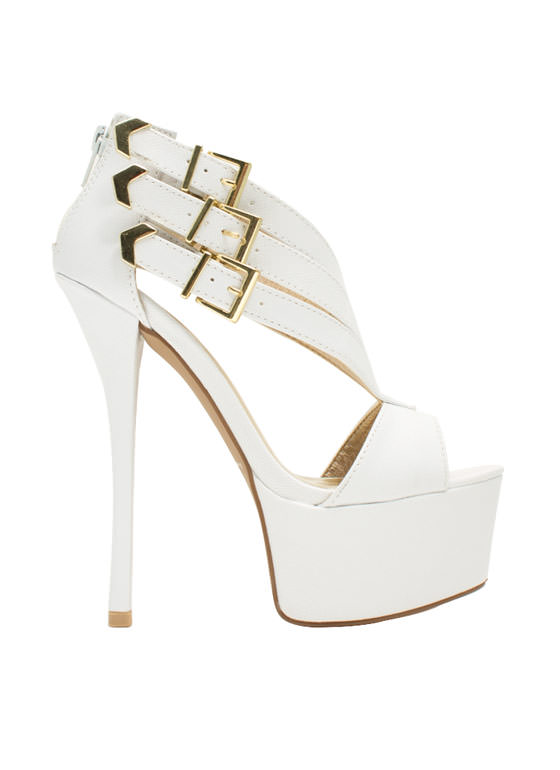 Tri-Buckle Chevron Heels WHITE