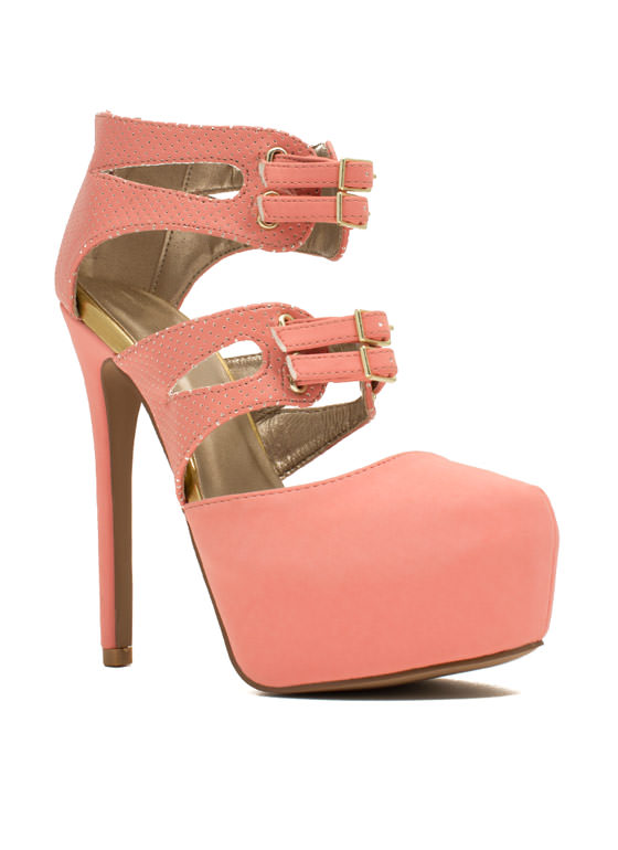 Sheathed 'N Buckled Heels SALMON