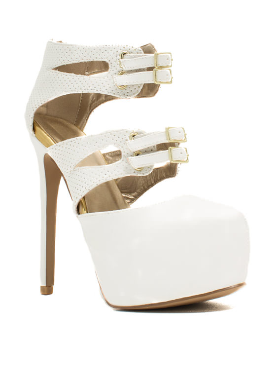 Sheathed 'N Buckled Heels WHITE
