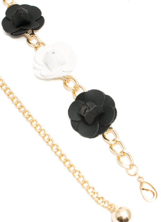 Faux Leather Rose Chain Belt BLACKWHITE