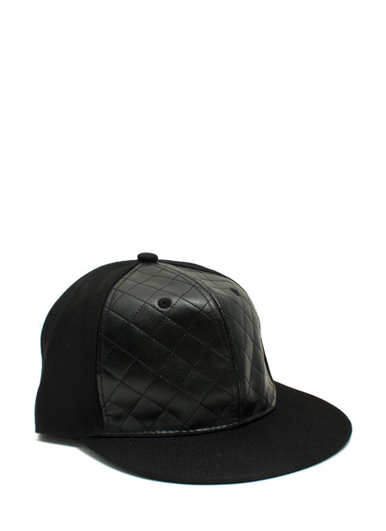 Quilted Snapback Hat BLACK