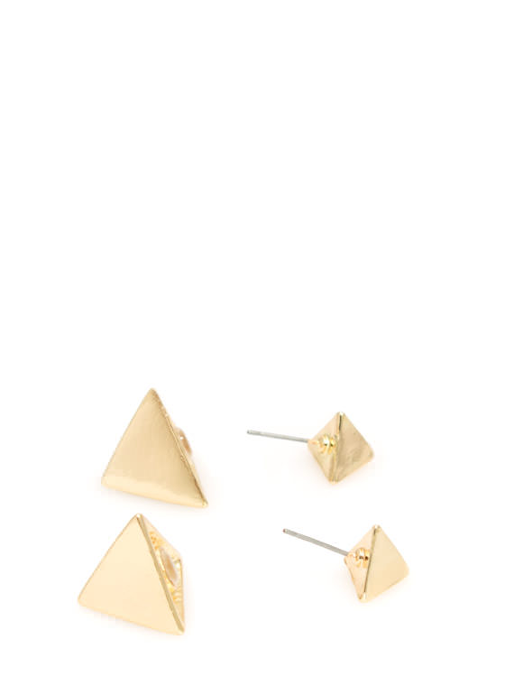 Two Pyramids Faux Plug Earrings GOLD