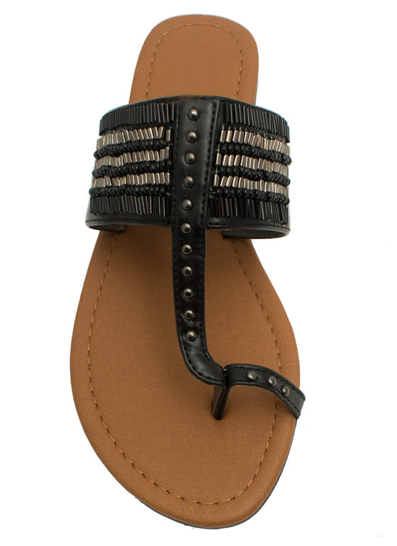 Just Bead It Toe Strap Thong Sandals BLACK