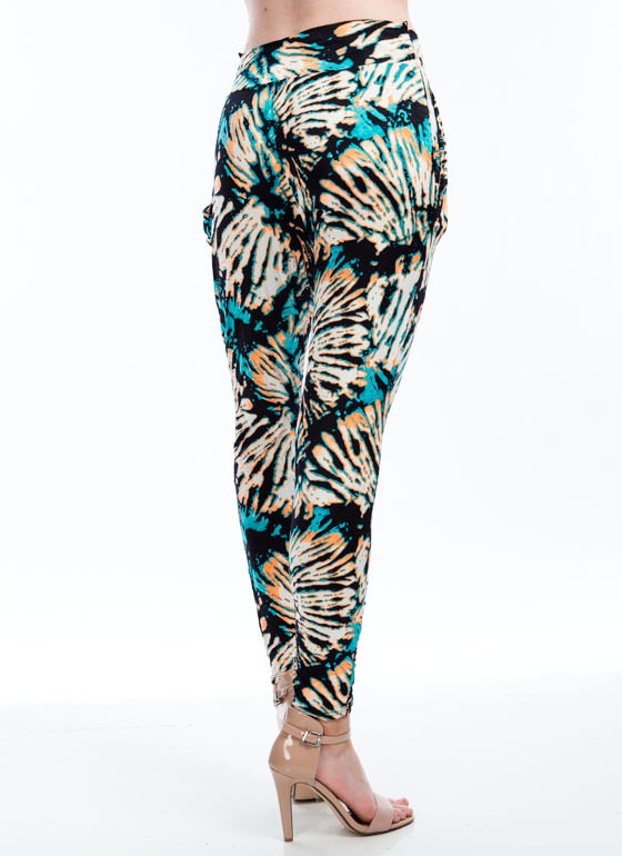 Psychedelic Paint Splatter Harem Pants BLUE
