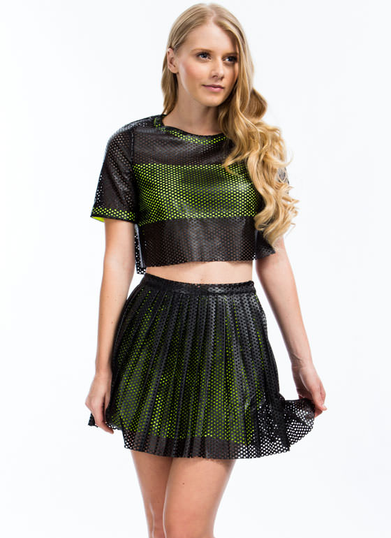 Laser Perforated Faux Leather Skirt BLACKNLIME (Final Sale)