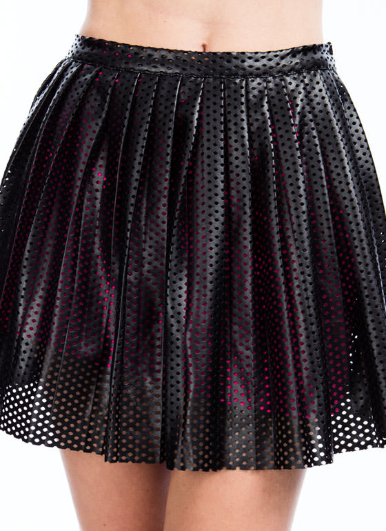 Laser Perforated Faux Leather Skirt BLACKNPINK (Final Sale)