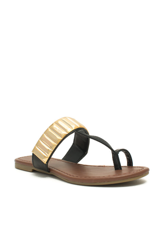 Plate Time T-Strap Sandals BLACK